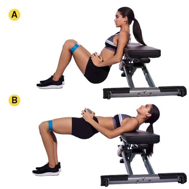 Dumbbell Knee-Banded Hip Thrust