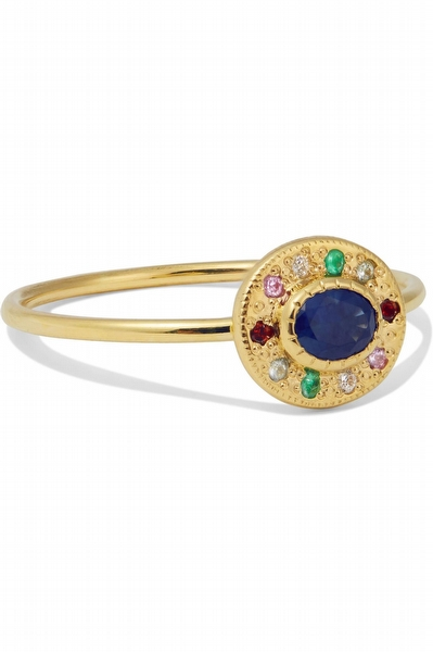 Halo 14-karat gold multi-stone ring- Jennie Kwon Designs